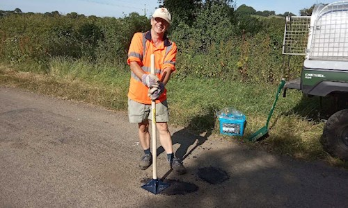 Pothole repairs by volunteers - Oliver Williams & David Gruncell