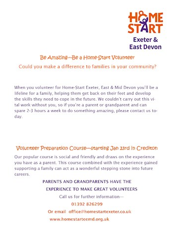 Home Start Exeter and East Devon poster seeking Volunteers to support their work across the local community.