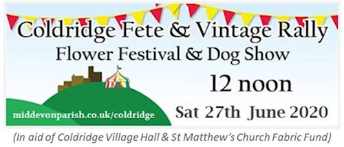 Logo for the Coldridge Fete, Vintage Rally, Flower Festival and Dog Show Sat 27th June 2020
