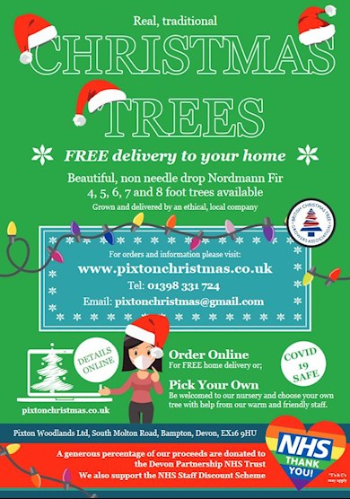 Pixton Woodlands Advertisement for Christmas Trees Delivered to your door in 2020 - September Calendar